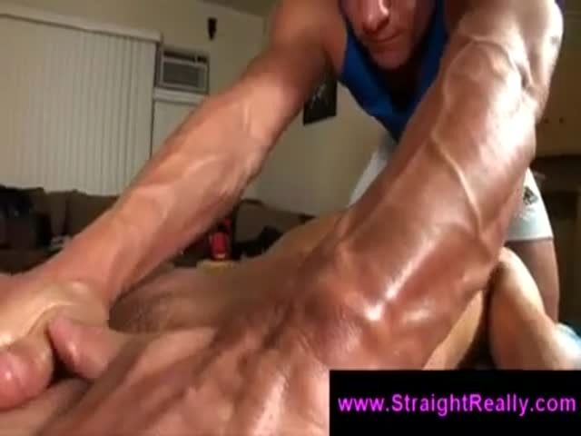 Gay perv massages straight guys ass and licks his balls