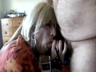 Mature crossdresser sucks and gets big facial