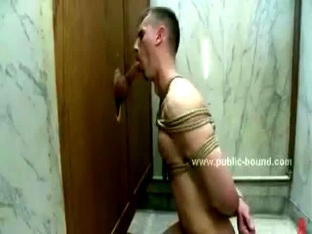 Blonde gay brutally banged in public