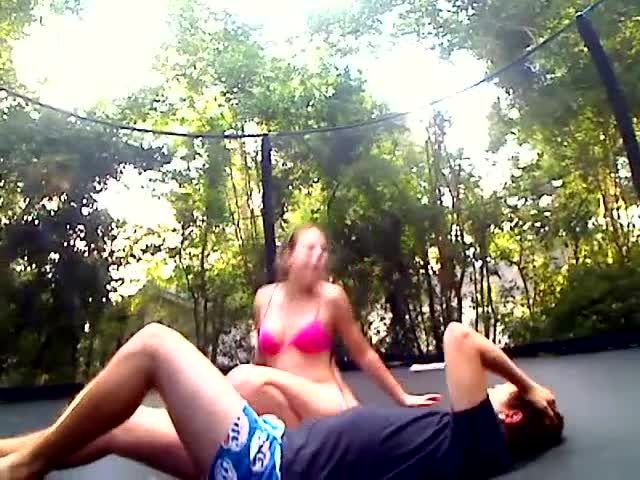 Trampoline couple fucking outside gets creampie