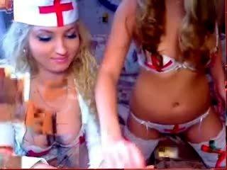 Sexy nurses giving hot webcam show.