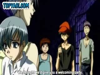 Gay hentai boys having a gangbang party in a prison cell