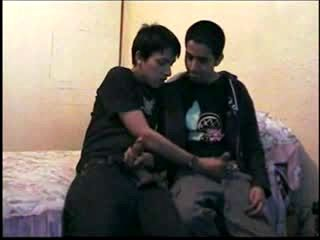 gay Two young latin boys start jerking in same room.