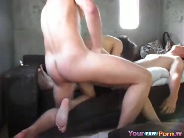 Two lesbians sided dildo