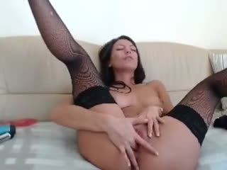 Awesome Brunette On Cam with Long Hair and Shaved Pussy
