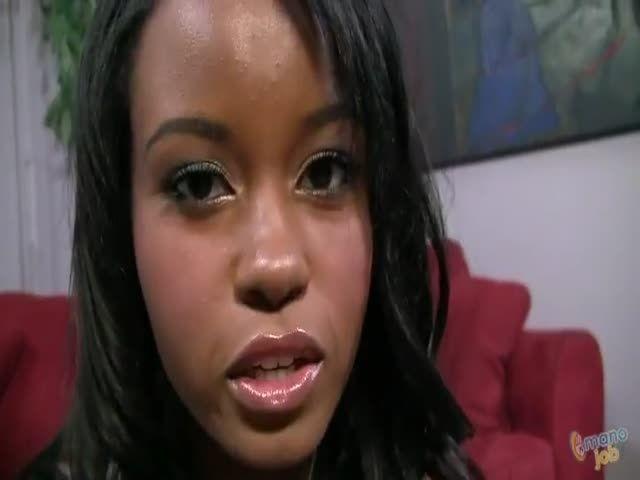 Ebony gives handjob back and
