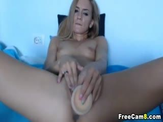 Pretty Blonde Strokes Her Dildo Hard To Her Cunt