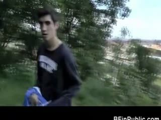 Gay Amateur Public Handjob in a Park!