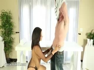 Luxury Blackhair Busty Babe Gives Unbelievable Handjob