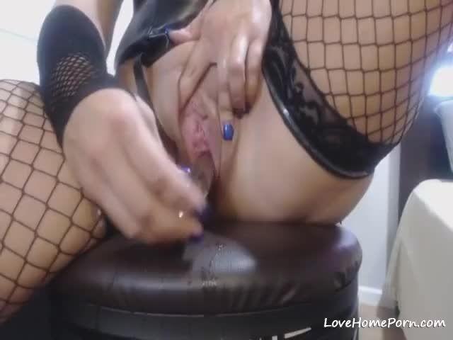 Webcam slut in black lingerie has dildo 7