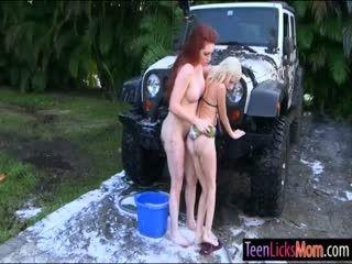 Skinny Teen And Busty Milf Lesbian Sex While Washing Car