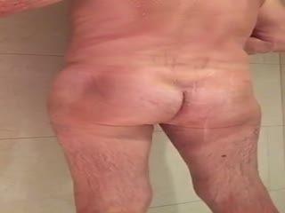 Sexy gay granpda quick shower