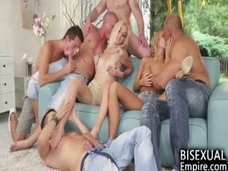2 Babes 5 Boys Bisexual Party!