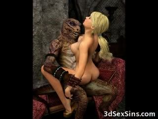 3D Babes Demolished by Ugly Monsters!