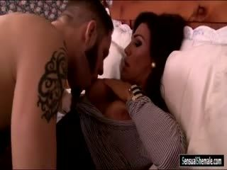 Huge tits tranny gets her asshole rammed