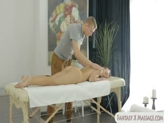 Pretty babe gets fucked by her masseur