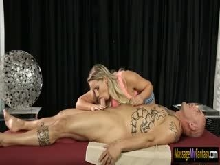 Big juggs masseuse fucked by two dudes