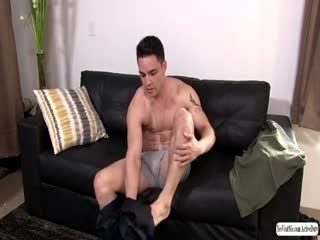 Gay Rix slowly strokes his bigcock