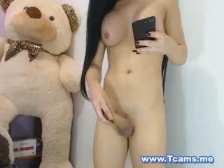 Perky Tits Tranny Pleasures Her Cock