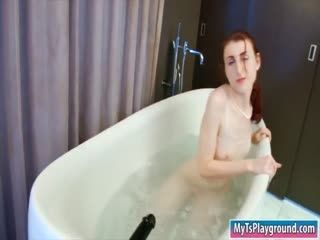 Very Tiny Tits TS Anal Toys In The Tub