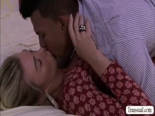 Blonde TS Aubrey have sex with her guy