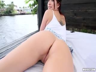 LetsTryAnal - Naiomi Mae - Brunette's Big Booty Fucked Outdoors