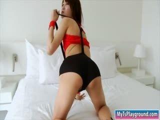 Asian Ladyboy Pooh Strokes Her Hard Dick