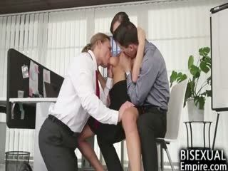 Bisexual MMF Threesome At The Office!