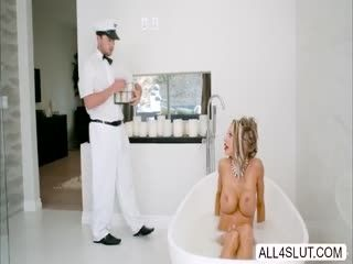 Voluptuous MILF Courtney Taylor Makes Out With Handsome Milk Delivery Boy