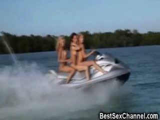 3 Naked Babes On A Jet Ski!