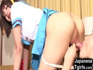 Japanese Cosplay Tgirl Gets Cum In Mouth!