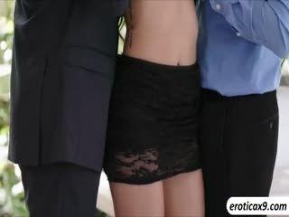 Brunette Babe Adria Rae Fucks Two Cocks In One Shot