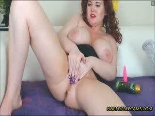 Redhead BBW Milf Fucks Pussy And Ass