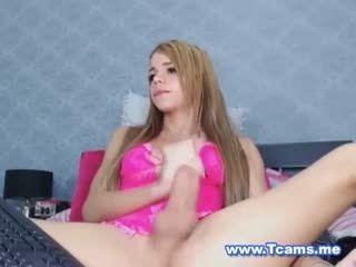 Cute Teen Tranny Stroking Her Massive Hard Dick