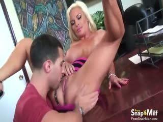 FreeSnapMilf - Voluptuous Cougar Fucks In Her Office
