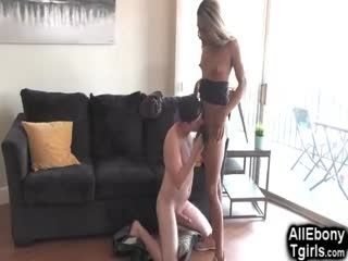 White Boy Enjoys Black Tgirl!