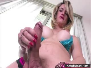 TS Solo Masturbates And Fucks Her Ass By A Toy