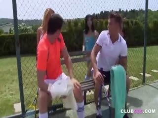 Four Horny Teens Came To A Tennis Court To Have A Lusty Fuck