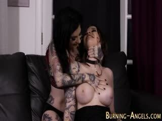 Tattooed Goth Tits Jizzed