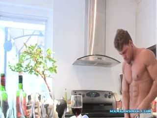 Handsome Blonde Hunk Jerking Off In The Kitchen