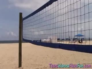 Volleyball Teen Jizzed On