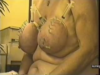 Fat Udders Pierced With Needles
