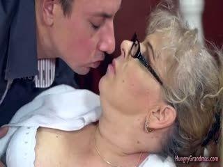 Chubby Blonde Grandma Rides A Hard Dong