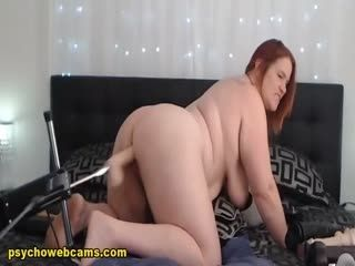 Chubby Red Head Enjoying Her Sex Toy Machine