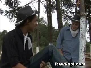 Horny Latino Cowboys Outdoor Sex