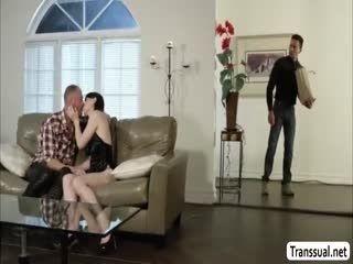 TS Natalie Kneels Down Sucks Dudes Cock