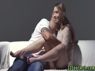 Babe Tugs Jizz On Feet