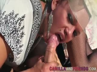 Two Horny Shemales Enjoy Fucking A Dudes Ass