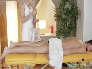 Twink Masseur Jerks Cock And Gets Barebacked