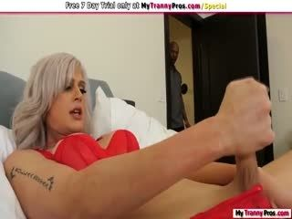TS Blonde Gets Analed By Black Roommate